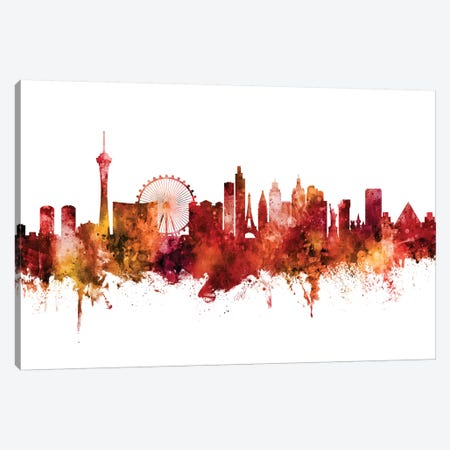 Las Vegas Nevada Skyline Red Canvas Print #MTO2521} by Michael Tompsett Canvas Print