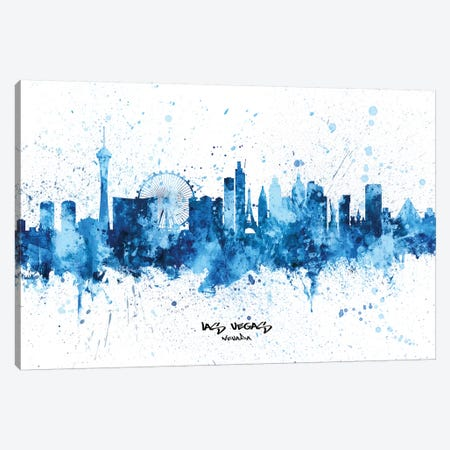 Las Vegas Nevada Skyline Splash Blue Canvas Print #MTO2522} by Michael Tompsett Art Print