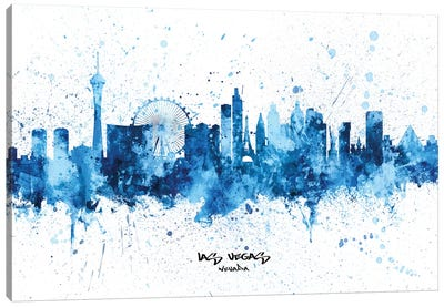 Las Vegas Nevada Skyline Splash Blue Canvas Art Print