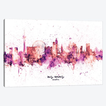 Las Vegas Nevada Skyline Splash Pink Canvas Print #MTO2523} by Michael Tompsett Canvas Print