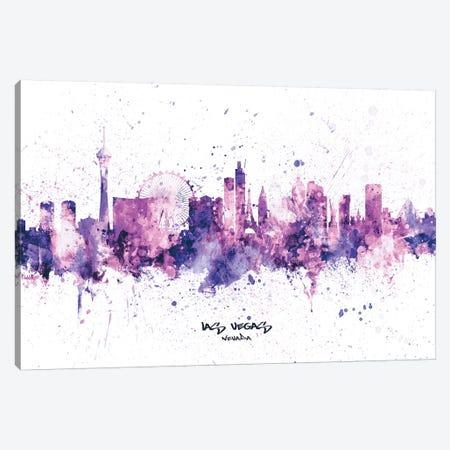 Las Vegas Nevada Skyline Splash Purple Canvas Print #MTO2524} by Michael Tompsett Canvas Art