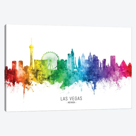 Las Vegas Nevada Skyline Rainbow Canvas Print #MTO2525} by Michael Tompsett Canvas Art