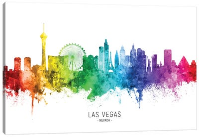 Las Vegas Nevada Skyline Rainbow Canvas Art Print