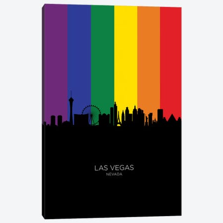 Las Vegas Nevada Skyline Rainbow Flag Canvas Print #MTO2526} by Michael Tompsett Canvas Wall Art