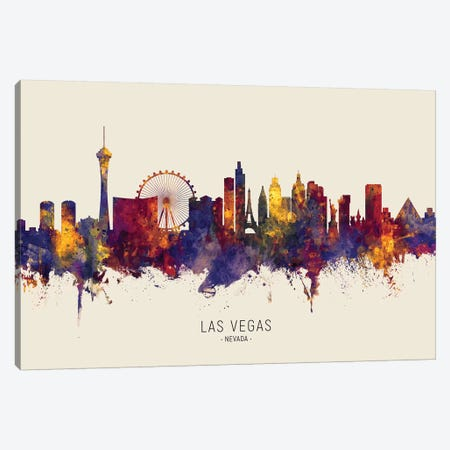 Las Vegas Nevada Skyline Red Beige Canvas Print #MTO2527} by Michael Tompsett Canvas Art