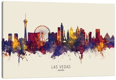 Las Vegas Nevada Skyline Red Beige Canvas Art Print