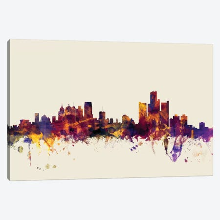 Detroit, Michigan, USA On Beige Canvas Print #MTO252} by Michael Tompsett Canvas Art