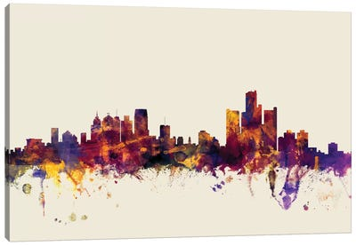 Skyline Series: Detroit, Michigan, USA On Beige Canvas Art Print