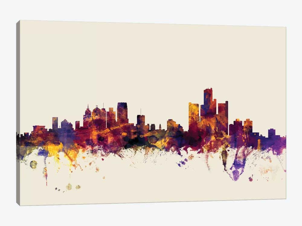 Detroit, Michigan, USA On Beige by Michael Tompsett 1-piece Canvas Print