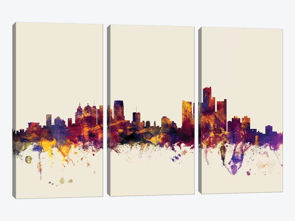 Detroit, Michigan, USA On Beige by Michael Tompsett 3-piece Canvas Print