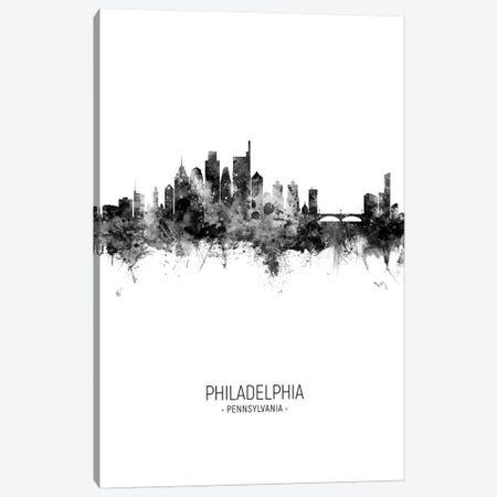 Philadelphia Skyline Portrait Black And White Canvas Print #MTO2534} by Michael Tompsett Art Print