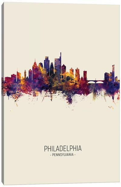 Philadelphia Pennsylvania Skyline Fall Canvas Art Print