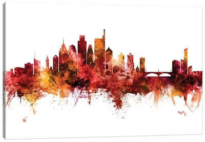 Philadelphia Pennsylvania Skyline Red Canvas Art Print