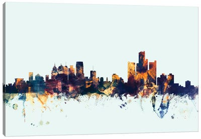 Detroit, Michigan, USA On Blue Canvas Art Print