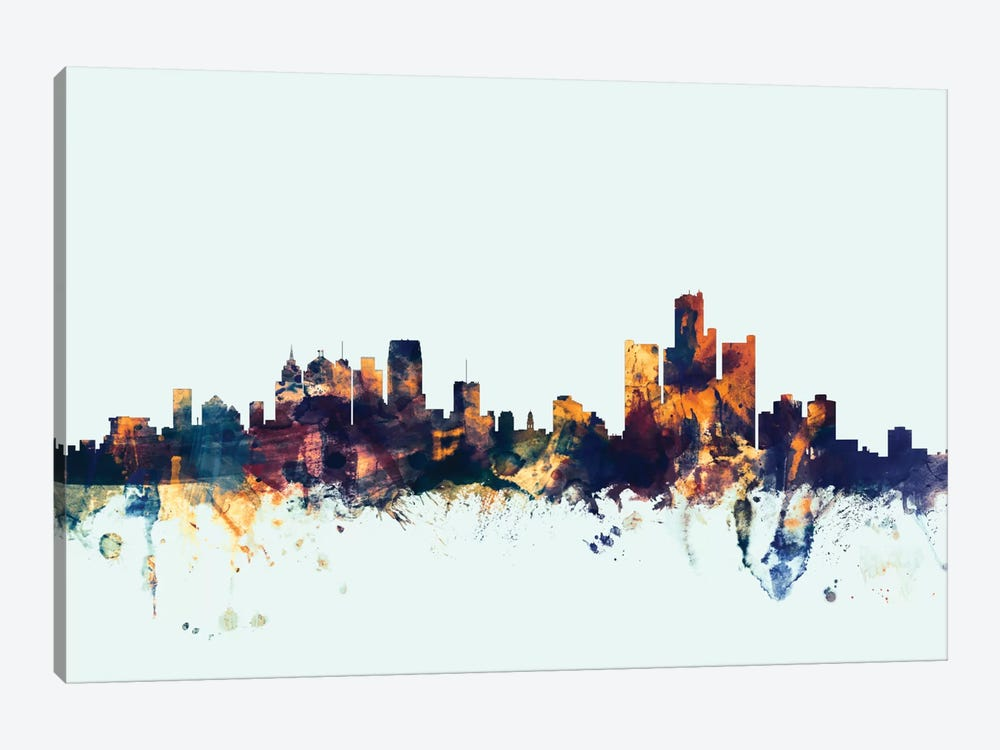 Detroit, Michigan, USA On Blue by Michael Tompsett 1-piece Canvas Artwork