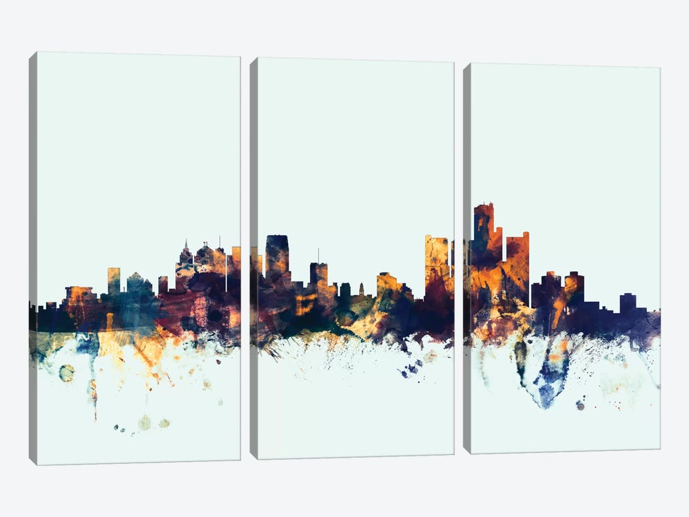 Detroit, Michigan, USA On Blue by Michael Tompsett 3-piece Canvas Art
