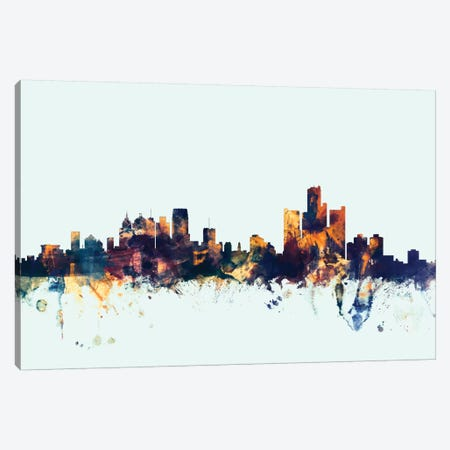 Detroit, Michigan, USA On Blue Canvas Print #MTO253} by Michael Tompsett Canvas Art