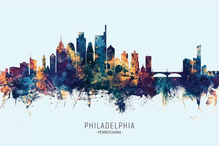 Philadelphia Skyline Blue Orange Canvas Art Michael Tompsett Icanvas