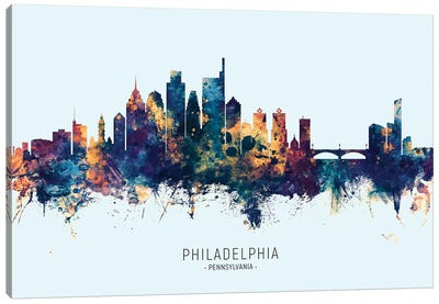 Philadelphia Skyline Blue Orange Canvas Art Print