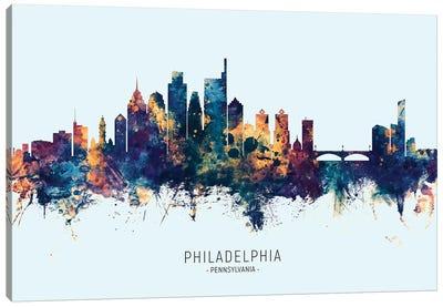 Philadelphia Skyline Blue Orange Canvas Art Print