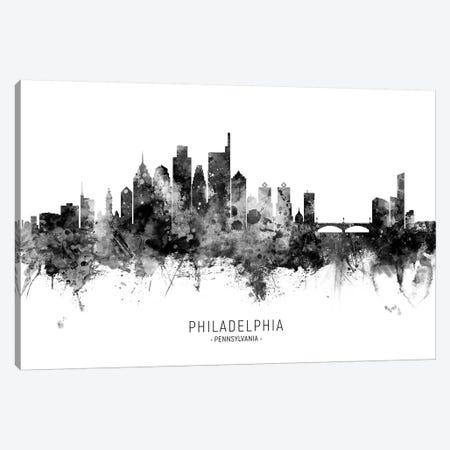 Philadelphia Skyline Name Black And White Canvas Print #MTO2545} by Michael Tompsett Canvas Wall Art