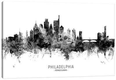 Philadelphia Skyline Name Black And White Canvas Art Print