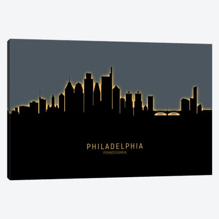 Philadelphia Skyline Glow Orange Canvas Print #MTO2546} by Michael Tompsett Canvas Wall Art