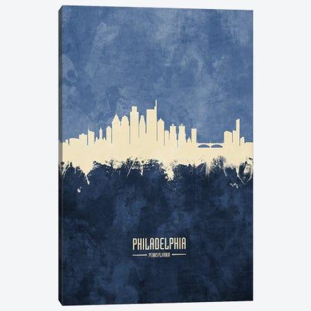 Philadelphia Pennsylvania Skyline Navy Canvas Print #MTO2547} by Michael Tompsett Canvas Artwork