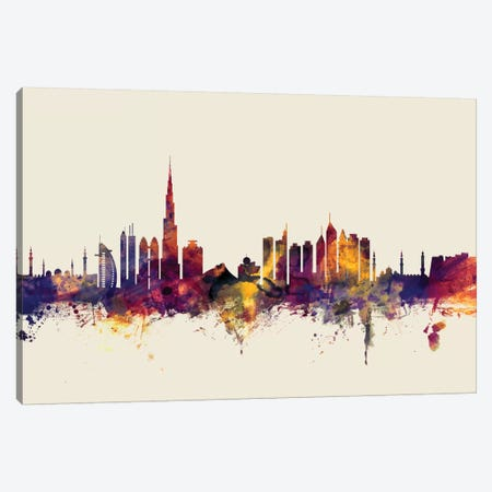 Dubai, UAE On Beige Canvas Print #MTO254} by Michael Tompsett Art Print