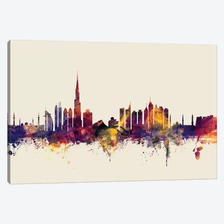 Dubai, UAE On Beige Canvas Print #MTO254} by Michael Tompsett Art Print