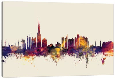 Dubai, UAE On Beige Canvas Art Print