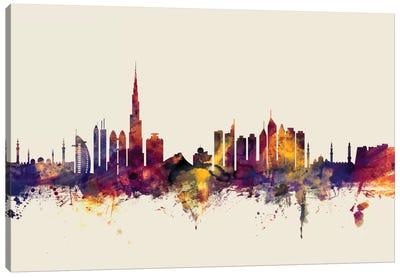 Dubai, UAE On Beige Canvas Art Print