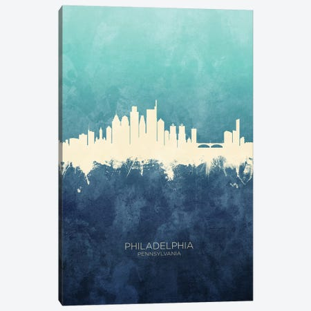Philadelphia Skyline Navy Cyan Canvas Print #MTO2551} by Michael Tompsett Canvas Wall Art