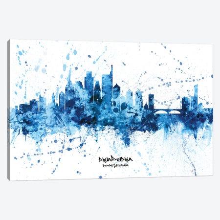 Philadelphia Skyline Splash Blue Canvas Print #MTO2553} by Michael Tompsett Canvas Art
