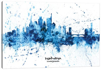 Philadelphia Skyline Splash Blue Canvas Art Print
