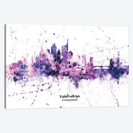 Philadelphia Skyline Splash Purple Canvas Print #MTO2555} by Michael Tompsett Canvas Art Print