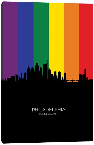 Philadelphia Skyline Rainbow Flag Canvas Art Print