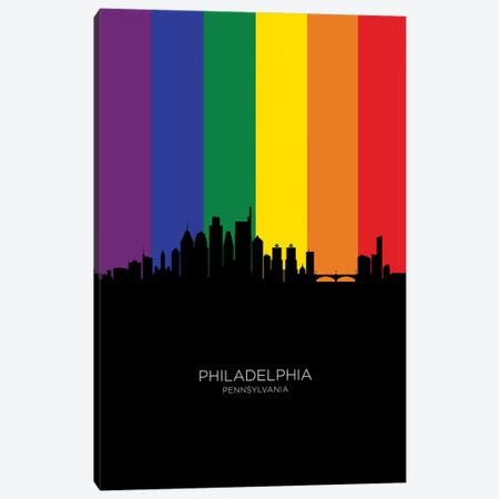 Philadelphia Skyline Rainbow Flag Canvas Print #MTO2557} by Michael Tompsett Art Print