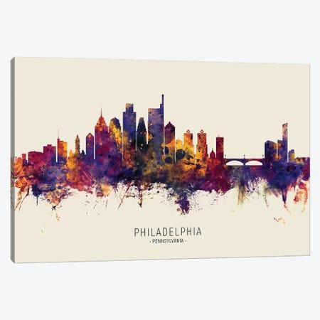 Philadelphia Skyline Red Beige Canvas Print #MTO2558} by Michael Tompsett Canvas Artwork