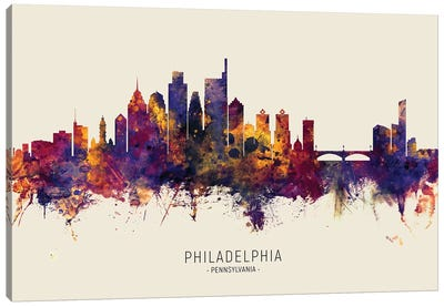 Philadelphia Skyline Red Beige Canvas Art Print