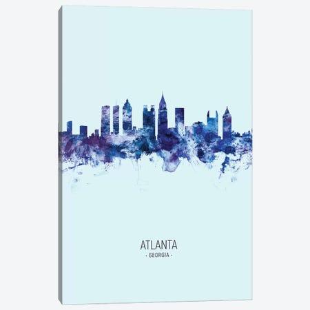 Atlanta Georgia Skyline Portrait Dark Blue Canvas Print #MTO2559} by Michael Tompsett Canvas Art