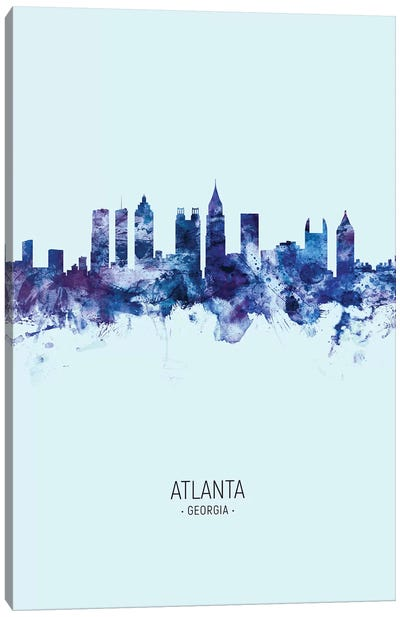 Atlanta Georgia Skyline Portrait Dark Blue Canvas Art Print