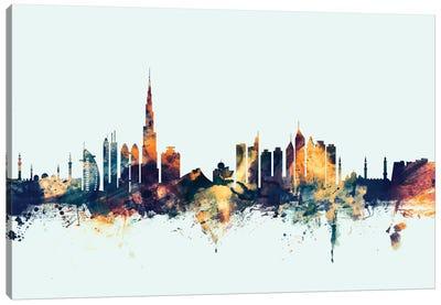 Dubai, UAE On Blue Canvas Art Print