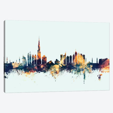 Dubai, UAE On Blue Canvas Print #MTO255} by Michael Tompsett Canvas Print