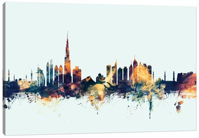 Dubai, UAE On Blue Canvas Art Print