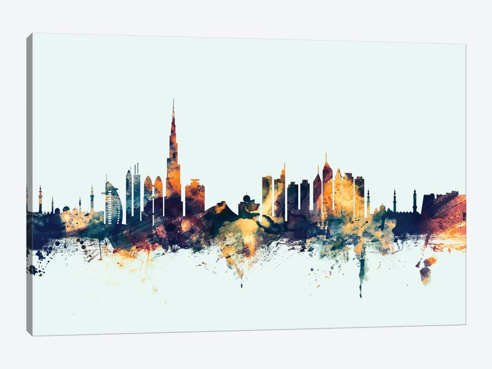Dubai, UAE On Blue by Michael Tompsett 1-piece Canvas Wall Art