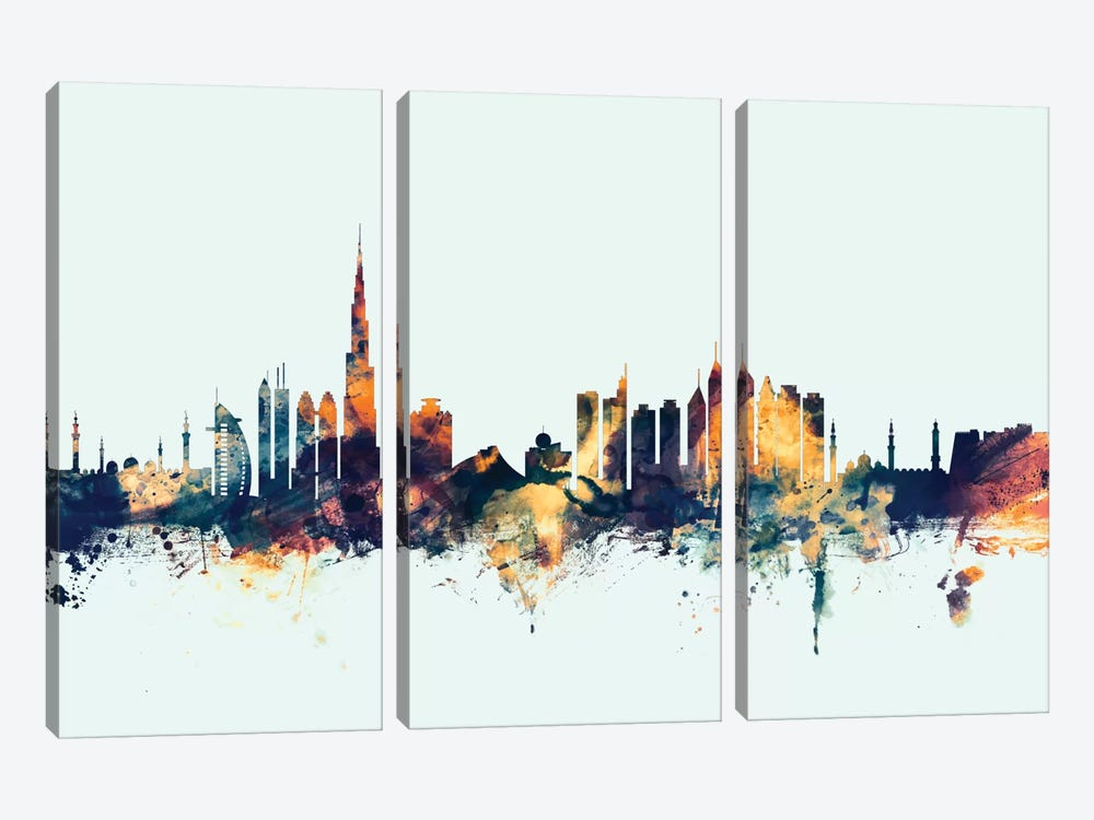 Dubai, UAE On Blue by Michael Tompsett 3-piece Canvas Art