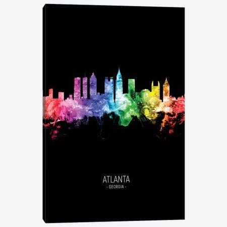 Atlanta Georgia Skyline Portrait Rainbow Black Canvas Print #MTO2560} by Michael Tompsett Canvas Print