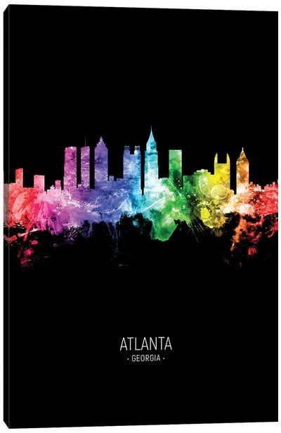 Atlanta Georgia Skyline Portrait Rainbow Black Canvas Art Print