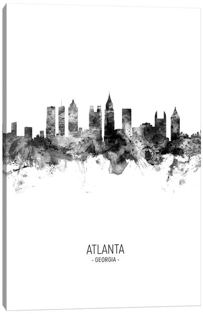 Atlanta Georgia Skyline Portrait Black And White Canvas Art Print